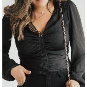 "Carly Jean Los Angeles ""Jacqueline"" Satin Blouse"